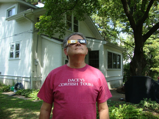 Ken Branson looking at the solar eclipse in St. Louis Mo